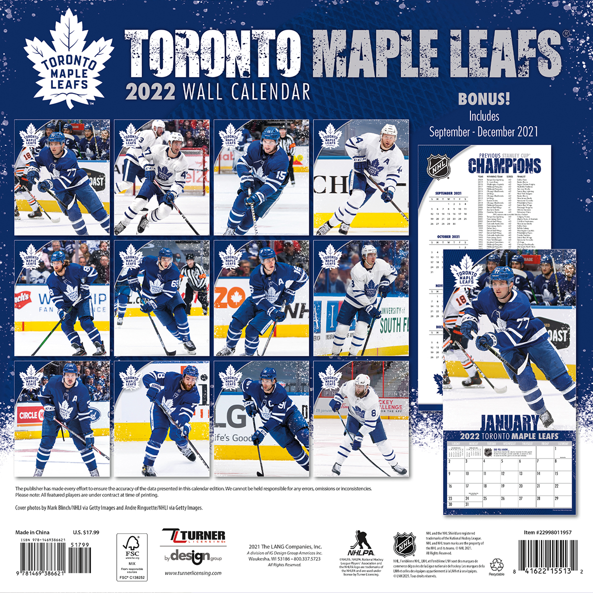 Toronto Maple Leafs 2019 Nhl Wall Calendar Buy At Khc Sports