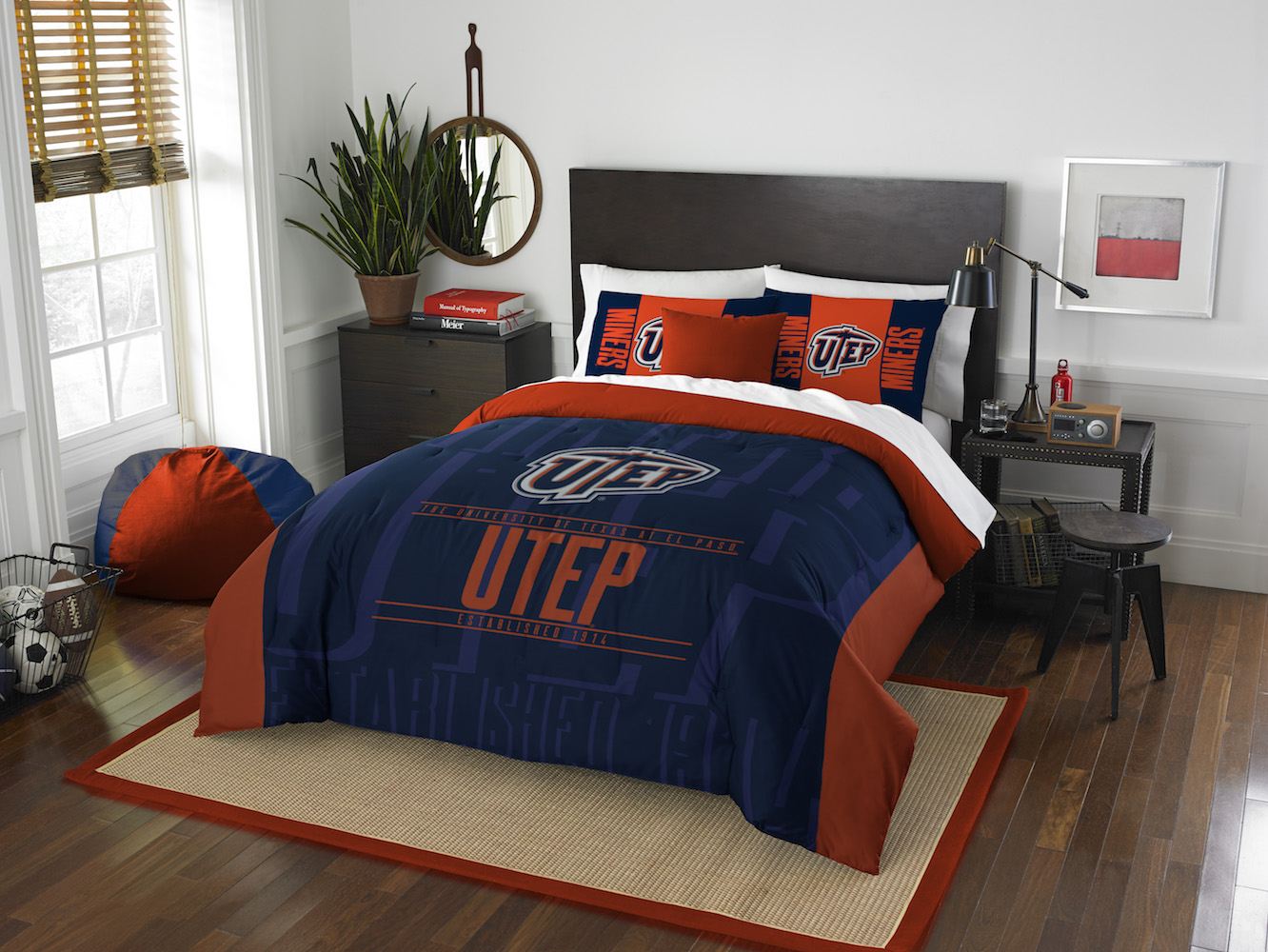 UTEP Miners QUEEN/FULL size Comforter and 2 Shams