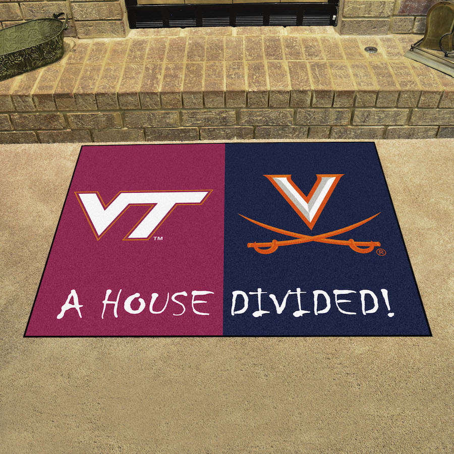 NCAA House Divided Rivalry Rug Virginia Tech Hokies - Virginia Cavaliers