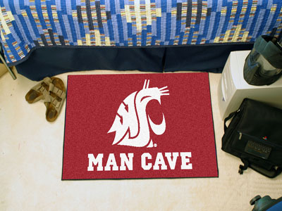 Washington State Cougars MAN CAVE 20 x 30 STARTER Floor Mat