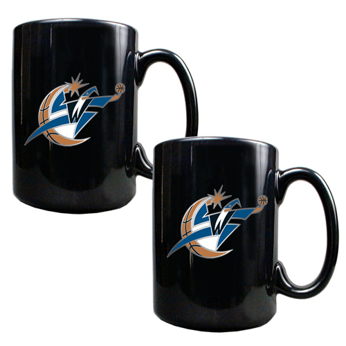Washington Wizards 2pc Black Ceramic NBA Coffee Mug Set