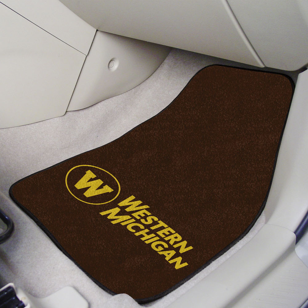 Western Michigan Broncos Car Floor Mats 18 x 27 Carpeted-Pair