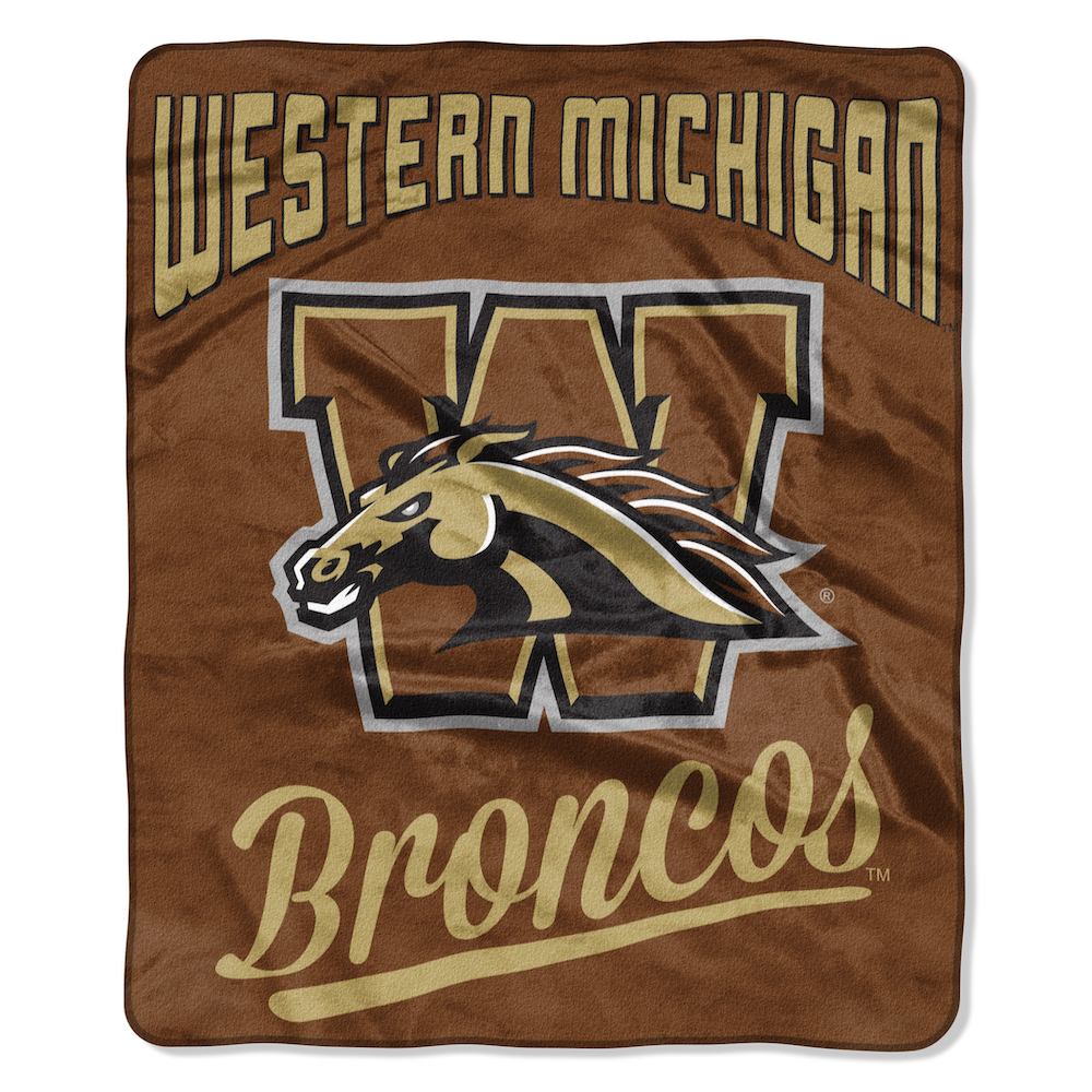 Western Michigan Broncos Plush Fleece Raschel Blanket 50 x 60