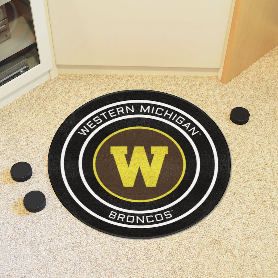 Western Michigan Broncos Round Hockey Puck Mat