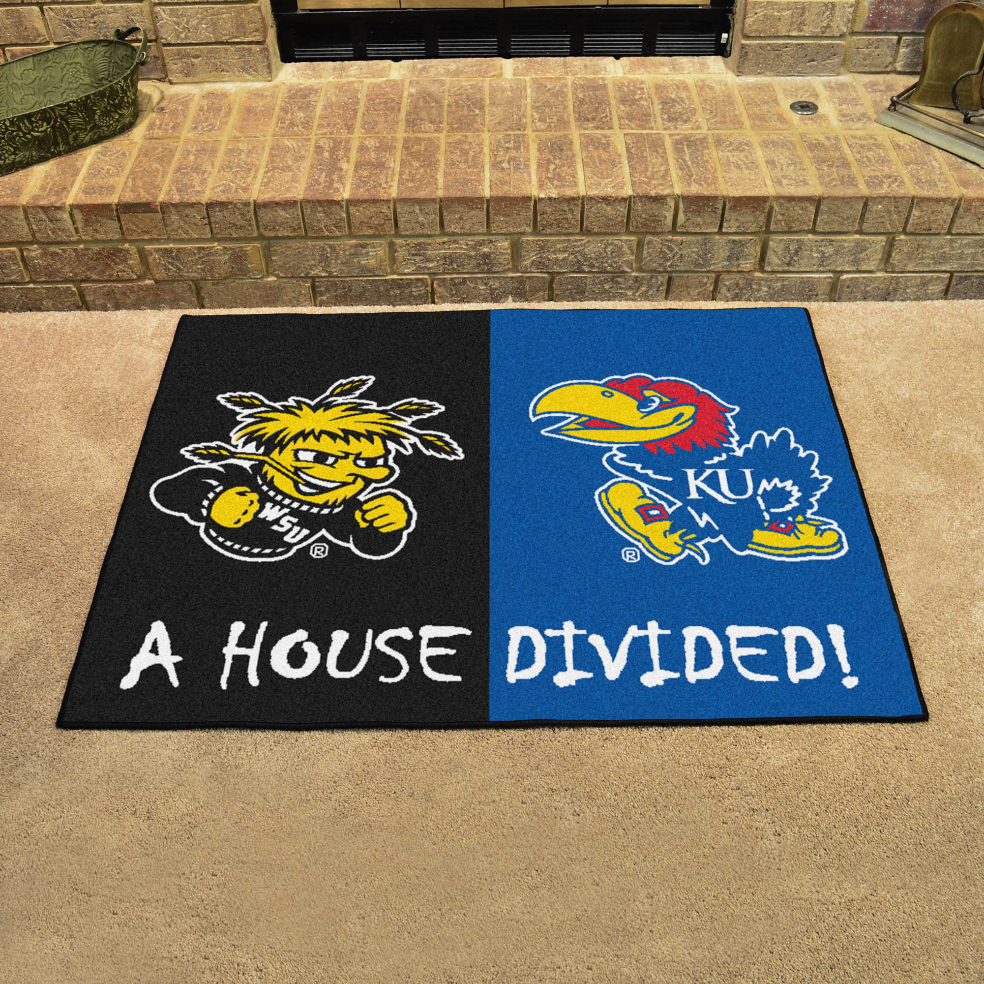 NCAA House Divided Rivalry Rug Wichita State Shockers - Kansas Jayhawks