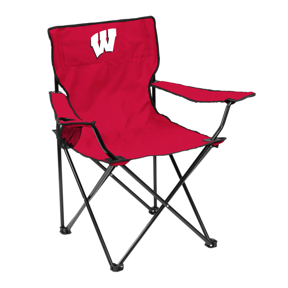 Wisconsin Badgers QUAD style logo folding camp chair