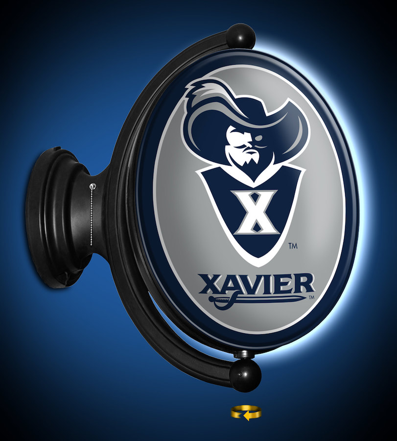Xavier Musketeers LED Rotating Wall Sign ~ OVAL SECONDARY