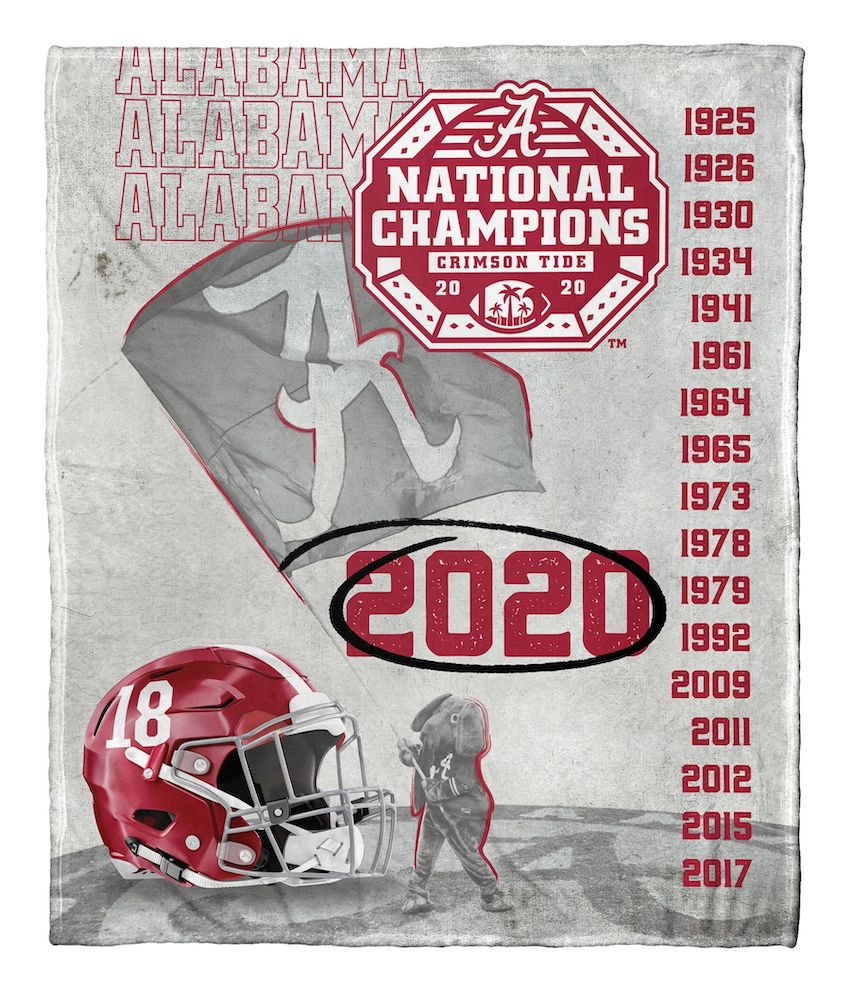 Alabama Crimson Tide 18x NCAA National Football Champions Silk Touch Throw Blanket