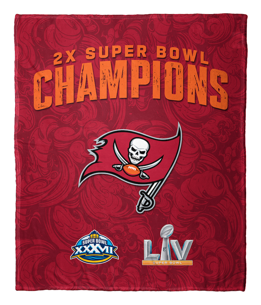 Tampa Bay Buccaneers 2 TIME Super Bowl Champions Silk Touch Throw Blanket 50 x 60
