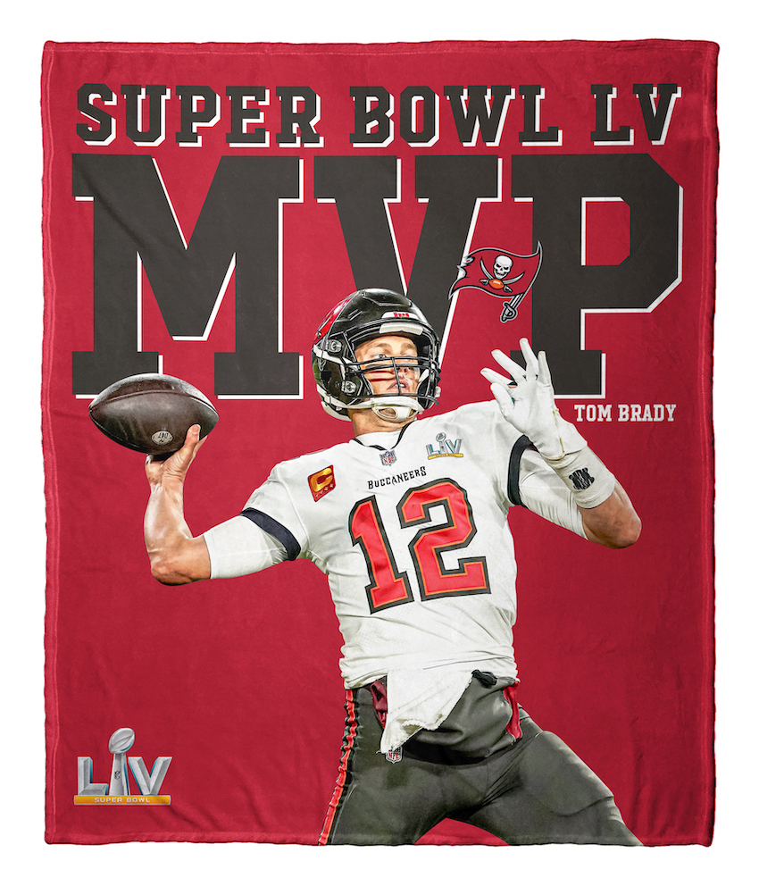 Tampa Bay Buccaneers Tom Brady NFL Super Bowl LV MVP Silk Touch Throw Blanket